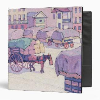 Hay Carts, Cumberland Market (oil on canvas) Vinyl Binders