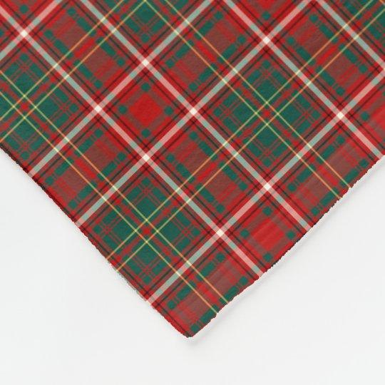 Hay Clan Red, Green, and White Tartan Fleece Blanket