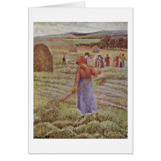 Hay Harvest At Eragny By Camille Pissarro Card