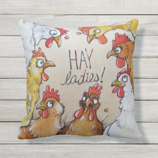 HAY Ladies - hen party here. Throw Pillow