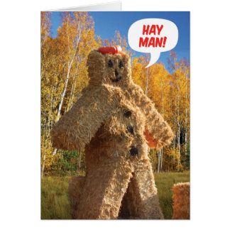 Hay Man, Happy Birthday Fall Birthday Card