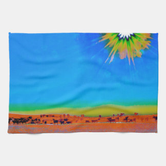 Hay Meadow to Water Kitchen Towel Retro Cattle