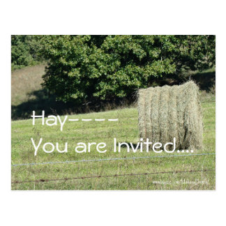 Hay-You are Invited....customize Postcard