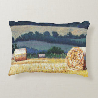 Haybales on hillside oil on canvas accent pillow