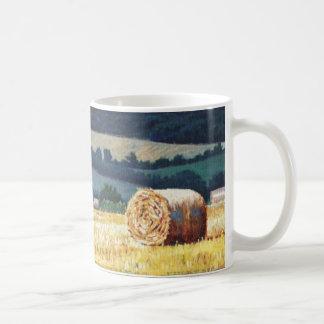 Haybales on hillside oil on canvas classic white coffee mug