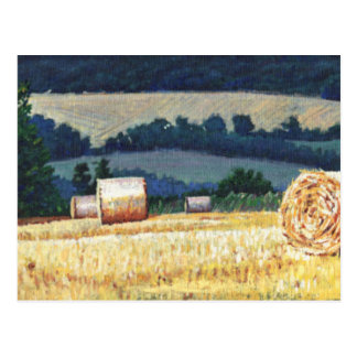 Haybales on hillside oil on canvas postcard