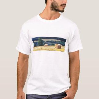 Haybales on hillside oil on canvas T-Shirt