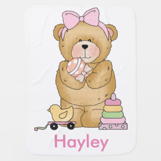 Hayley's Teddy Bear Personalized Gifts Swaddle Blankets