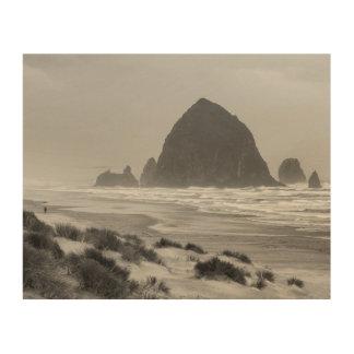 Haystack Rock at Cannon Beach Wood Canvas