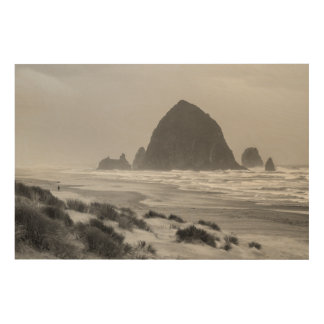 Haystack Rock at Cannon Beach Wood Prints