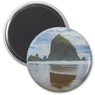 Haystack Rock, Cannon Beach, Oregon 2 Inch Round Magnet