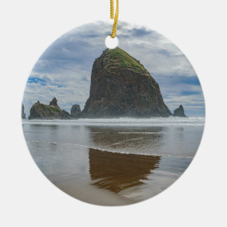 Haystack Rock, Cannon Beach, Oregon Round Ceramic Ornament