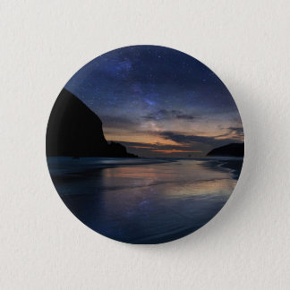 Haystack Rock under Starry Night Sky 2 Inch Round Button