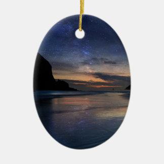 Haystack Rock under Starry Night Sky Ceramic Ornament