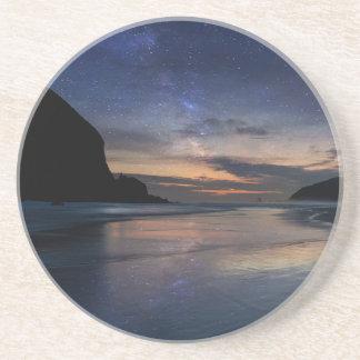 Haystack Rock under Starry Night Sky Coaster