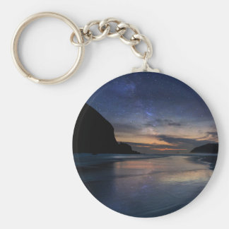 Haystack Rock under Starry Night Sky Keychain
