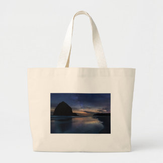 Haystack Rock under Starry Night Sky Large Tote Bag
