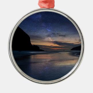 Haystack Rock under Starry Night Sky Metal Ornament