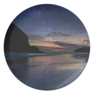 Haystack Rock under Starry Night Sky Plate