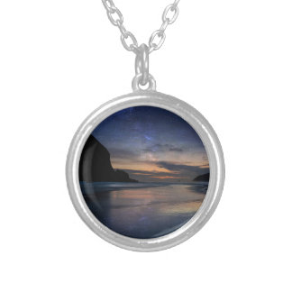 Haystack Rock under Starry Night Sky Silver Plated Necklace