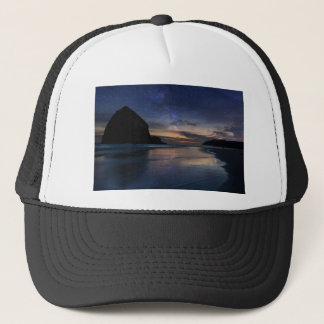 Haystack Rock under Starry Night Sky Trucker Hat