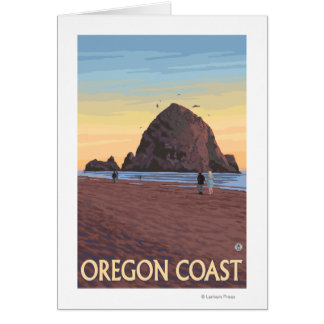 Haystack Rock Vintage Travel Poster Card