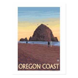 Haystack Rock Vintage Travel Poster Post Card