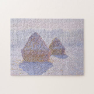 Haystacks Effect of Snow and Sun Jigsaw Puzzle