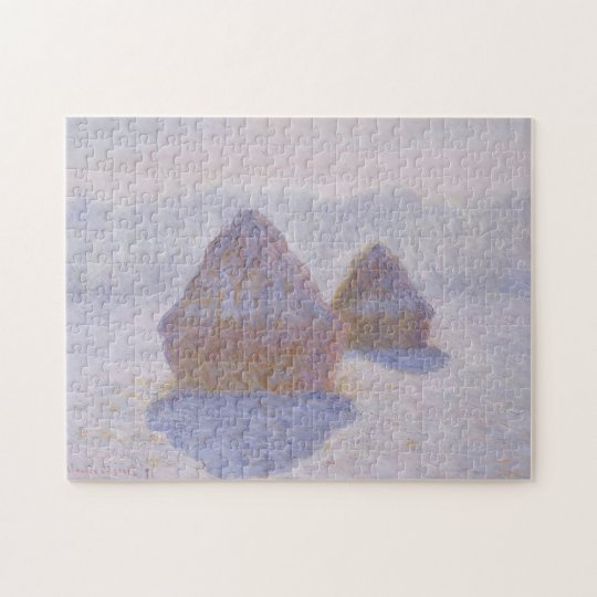 Haystacks Effect of Snow & Sun Monet Fine Art Jigsaw Puzzle