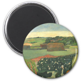 Haystacks in Brittany by Paul Gauguin, Vintage Art 2 Inch Round Magnet
