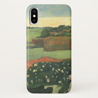 Haystacks in Brittany by Paul Gauguin, Vintage Art iPhone X Case