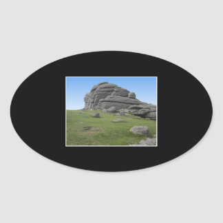 Haytor. Rocks in Devon England. On Black. Oval Sticker