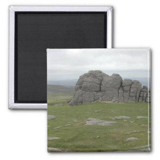 Haytor. Rocks in Devon England. Square Magnet
