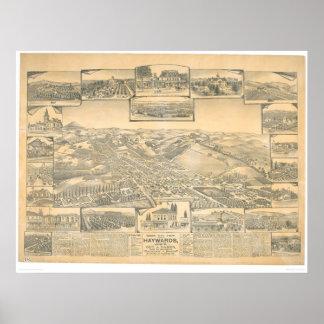 Hayward, CA. Panoramic Map (0696A) Poster