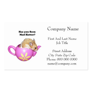 Haz You Seen Mad Hatter Dormouse Hamster Photo Business Cards