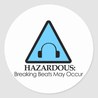 HAZARDOUS BEATS BLUE ROUND STICKER