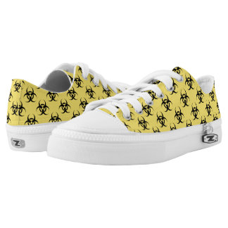 Hazardous Biological Symbol Patterned Yellow Black Low-Top Sneakers