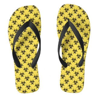 Hazardous Symbol Patterned Yellow Black Flip Flops