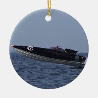 Hazards Of Powerboat Racing Round Ceramic Ornament