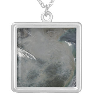 Haze over eastern China Square Pendant Necklace