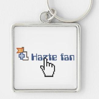 Hazte Fan Silver-Colored Square Keychain
