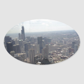 Hazy Chicago Morning Oval Sticker