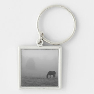 Hazzy Grazing Grayscale Silver-Colored Square Keychain