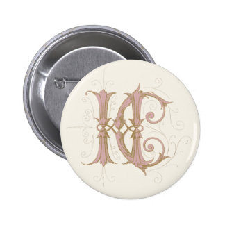 HC or CH Monogram in Pink and Gold 2 Inch Round Button