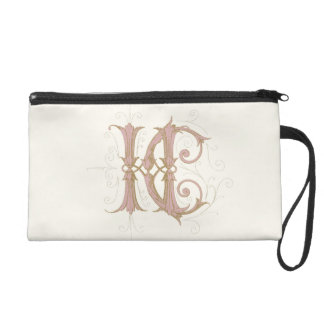 HC or CH Monogram in Pink and Gold Wristlet Purses