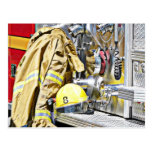 HDR Fireman Gear and Fire Truck Post Card
