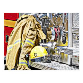 HDR Fireman Gear and Fire Truck Postcard