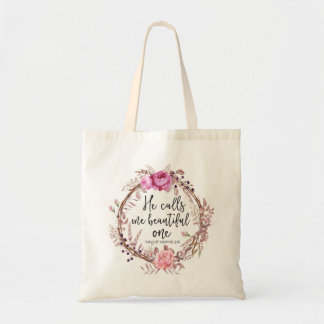 He Calls Me Beautiful One, Floral Wreath Tote Bag