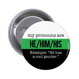 He/Him Pronouns –Neutrois Flag 2 Inch Round Button