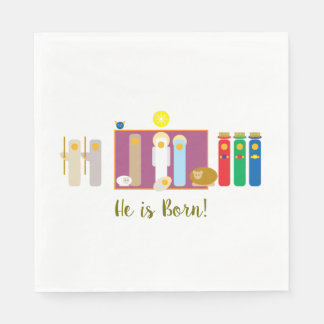 He is Born Minimalist Nativity Disposable Napkin